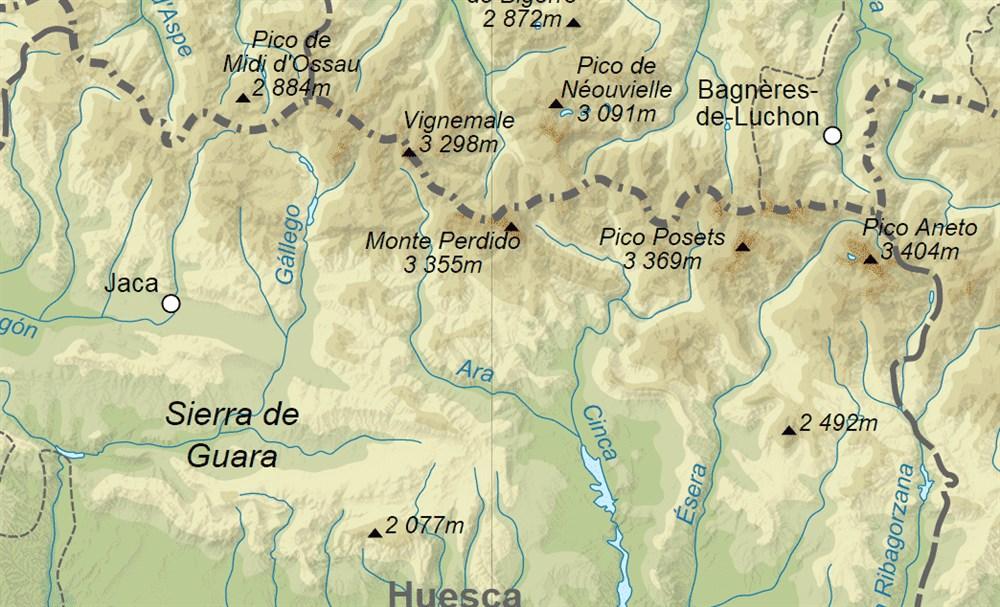 Mapa De Huesca Pirineos.Senderismo Net Senderismo En Pirineo Aragones