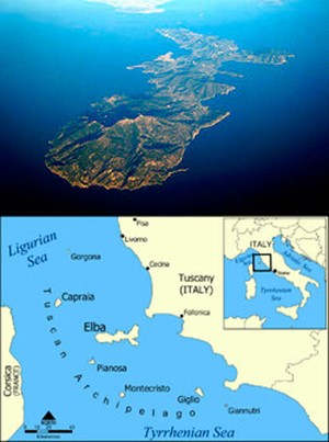 Isla de Elba - mapa y foto de wikipedia - By Mjobling (Own work) [GFDL (http://www.gnu.org/copyleft/fdl.html) or CC BY 3.0 (http://creativecommons.org/licenses/by/3.0)], via Wikimedia Commons - By Created by NormanEinstein (Own work) [GFDL (http://www.gnu.org/copyleft/fdl.html) or CC-BY-SA-3.0 (http://creativecommons.org/licenses/by-sa/3.0/)], via Wikimedia Commons